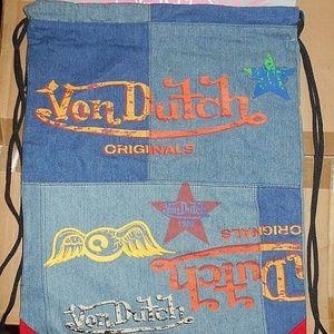 b14b3ede9c0 Vintage Zipper Draw String Nap Sack Backpack Bag
